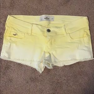 Yellow ombre Hollister size 7 jean shorts